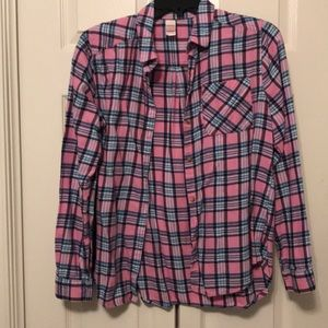 Pink Plaid Flannel Button Shirt